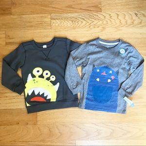 NWT Carter's Monster Sweatshirt And Long Sleeve